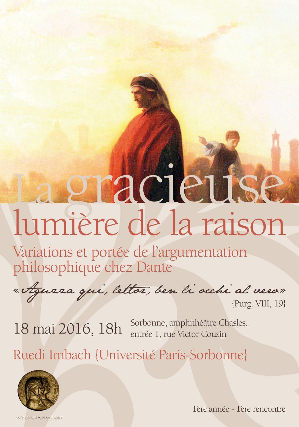 Première séance de la Société Dantesque de France: Ruedi Imbach, la gracieuse lumière de la raison